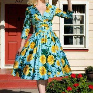PINUP floral blue yellow midi circle dress SMALL